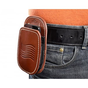 All American Leather Cell Phone Holster - Fits iPhone 5, 6, 7, 8, Samsung Galaxy S6, S7, S8