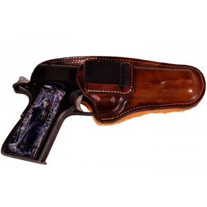 Leather IWB Belt Clip Holster with Sheepskin Backing