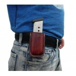Leather Magazine Belt Clip Pouch for Single Stack .45 Caliber