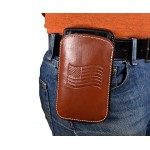 Leather Cell Phone Holster XL - Fits iPhone 6, 7, 8, 8 Plus, Samsung Galaxy S7, S8, S8 Plus